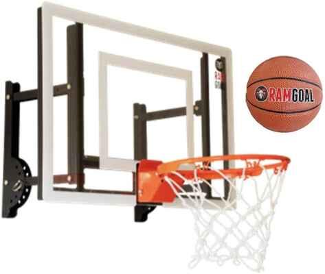 #1. RAMgoal Adjustable Height Up & Down Durable Indoor Mini Basketball Hoop w/Ball