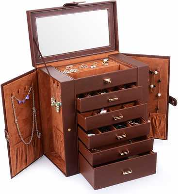 #1. Kendal LJC-SHD5BN Huge Cleaned Lined Sleek Sturdy Leather Jewelry Box (Brown)