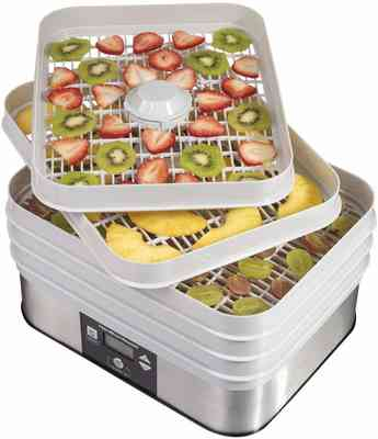 #8. Hamilton Beach 32100A 5 Stackable Drying Trays Auto-Timer Food Dehydrator Machine (Gray)