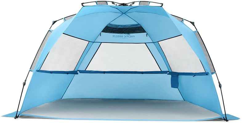#9. Pacific Breeze Lightweight & Compact Deluxe XL Easy Set Up Beach Tent w/Carrying Case