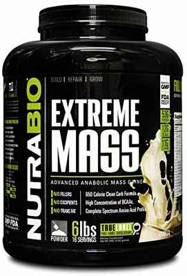 #8. NutraBio Extreme 6lbs Vanilla Taste Delicious Protein Carbohydrates & Calories Blend Mass Gainer