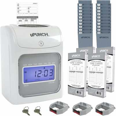 #9.uPunch HN4500 Calculating Time Clock Bundle 200 Time Cards 3 Ribbons 2 Keys