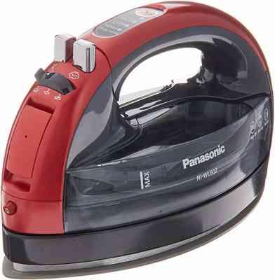 #6. Panasonic 360 Ceramic Cordless Metallic Freestyle Double-Point Design Adjustable Steam Iron (Red)