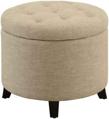 #2. Convenience Concepts Easy Access Fabric Tan Fabric & Finish Designs4Comfort Round Ottoman