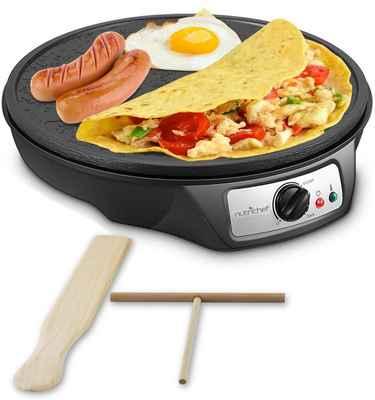 #1. NutriChef 12'' LED Indicator Light Aluminum Griddle Hot Plate Cooktop Electric Crepe Maker