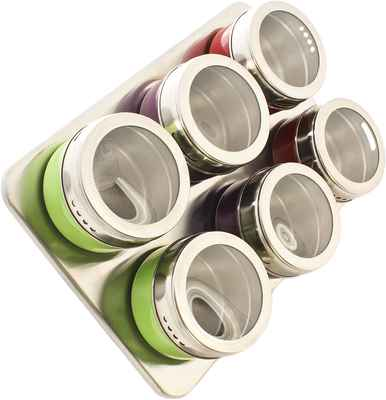 #2. Zoie+Chloe Modern Stylish Magnetic Spice Rack Seasoning Containers & Condiments Set