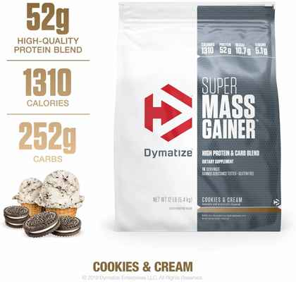 #7. Dymatize Super-Mass Gainer 1310 Calories 52g Protein BCAAs Mixes Easily Taste Delicious 12lbs