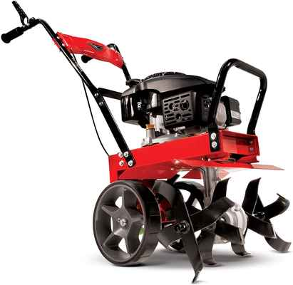 #10. EARTHQUAKE 149CC 4-Cycle Large Wheels Heavy-Duty Front Tine Tiller (Red)