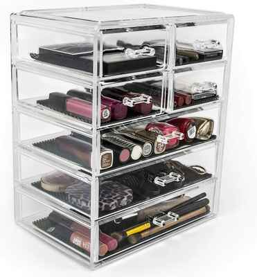 #10. SORBUS 3 Large 4 Small Drawers Clear Stylish Vanity Bathroom Case Cosmetics Makeup Organizer