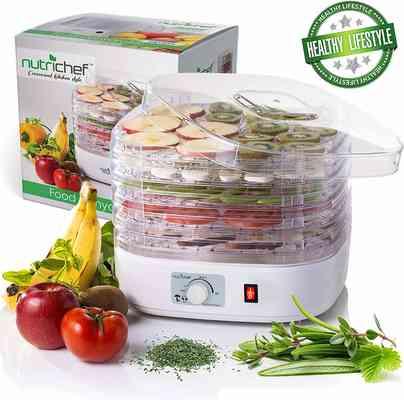 #7. NutriChef PKFD06 5 Stackable Trays High Heat Circulation Professional Food Dehydrator Machine