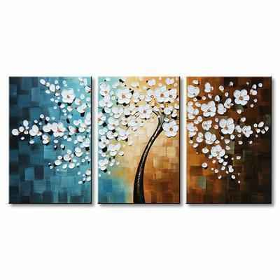 9. Winpeak Art Hand Oil Painted Large Abstract 3-Pcs Floral Modern Canvas Wall Art (White)