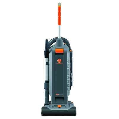 #2. Hoover Commercial HushTone 15'' w/Intellibelt 2-Speed 12V Upright Vacuum Cleaner (Gray)