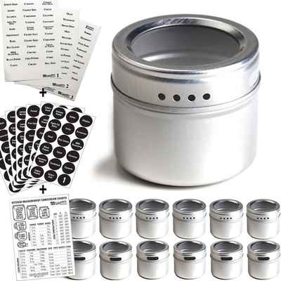 #3. Talented Kitchen Authentic Flat-Surface 2 Types 12 Storage Spice Containers Spice Labels