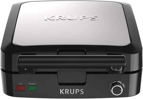 #2. KRUPS 4 Slices Adjustable Browning Belgian Mini Waffle Maker w/Removable Plates (Black & Silver)