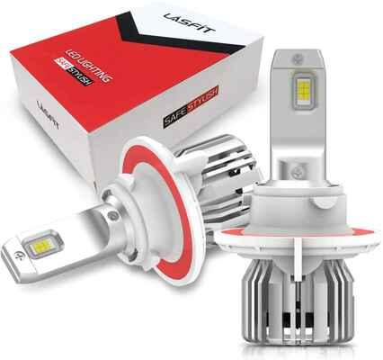 #9. LASTFIT Mini Size Plug 6000K Pure White H13/9008 Low Dual Slim High LED Headlight Bulbs