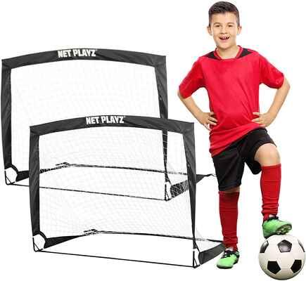 #6. NET PLAYZ Set of 2 4 Ft x 3 Ft Portable Easy Fold-Up Easy Assemble Training Soccer Goal
