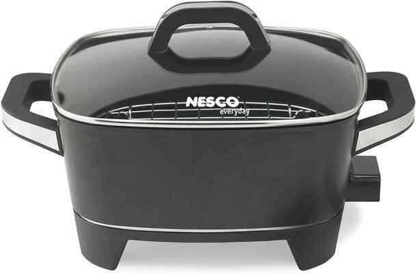 #3. Nesco ES-12 1500W 12'' Premium Nonstick Heat-Resistant Extra-Deep Electric Skillet (Black)