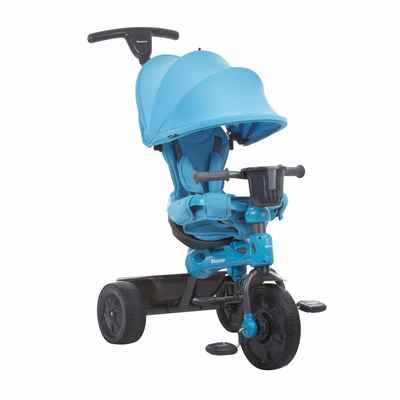 #4. Joovy Tricycoo Blue 4.1 Kid's Push Tricycle Toddler Trike w/Front Wheel Pedal Locking