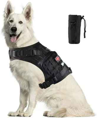 #4. Handshengday Reflective Patchesi Training Molle Harness Tactical Dog Vest w/Detachable Pouches