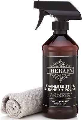 #6. Therapy 16 Oz. Premium Stainless Steel Cleaner & Polish with Large Microfiber Cloth