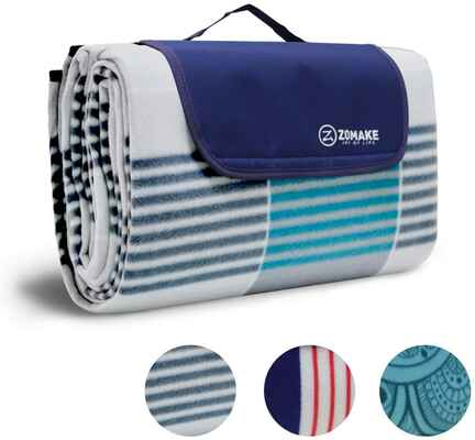 #3. ZOMAKE Waterproof Extra-Large Outdoor Picnic Beach Blanket w/Waterproof Backing for Family