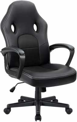 #3. Furmax High Back Adjustable Swivel Headrest & Lumbar Support Leather Gaming Chair (Black)