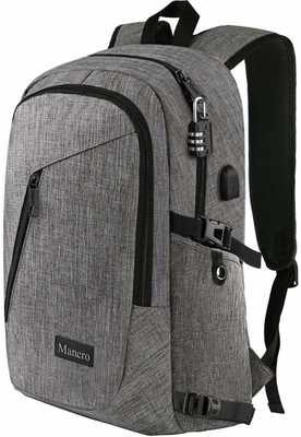 #6. Mancro Water-Resistant Anti-Theft Laptop W/USB Charging Port College Backpack (Grey)