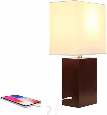 #5. Brightech Modern LED USB Side Unique Lampshade Bedside Nightstand Light (Havana Brown)