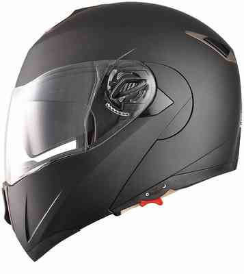 #10. AHR Full Face Flip up DOT Approved Dual Visor Motocross Motorcycle Helmet (Matte Black, XL)