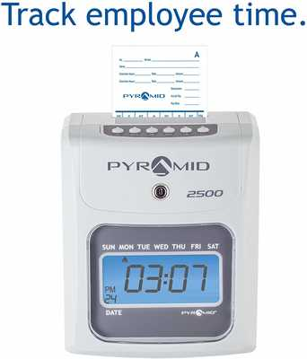 #1. Pyramid 2500 Small Business Time Clock with 2 Security Key 1 Ribbon 100 Time Cards