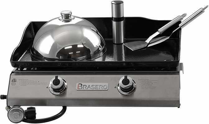 #9. Brasero Portable 26'' 2 Burners Stainless Steel Heavy-Duty Outdoor Flattop Gas Griddle