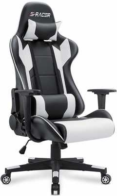 #1. Homall Adjustable Swivel PU Leather with Headrest and Lumbar Support Gaming Chair (White)