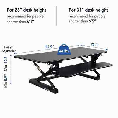 4. FlEXISPOT M3B 47-Inch Wide Platform Quick Release Keyboard Standing Desk (L-Size-Black)