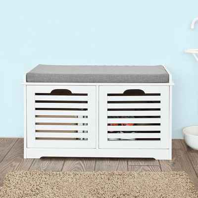 #4. Haotian FSR23-K-W White Storage Bench w/2 Drawers & Removable Seat Cushion