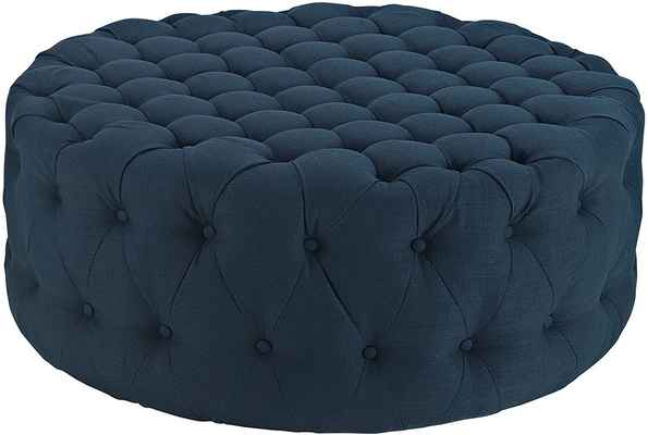 #10. Modway Upholstered Button-Tufted Amour Fabric Mid-Century Modern Round Ottoman in Azure