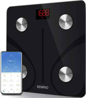 #1. RENPHO 396 lbs Bluetooth Digital Bathroom Wireless Weight Scale w/Smartphone App (Black)