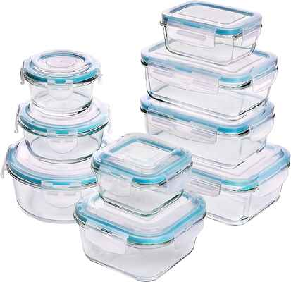 #10. Utopia Kitchen Glass 18 Pcs Transparent Lids BPA-Free Glass Food Storage Container