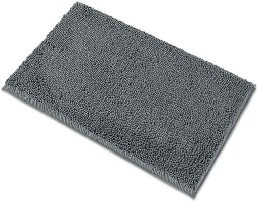 #9. MAYSHINE Chenille Extra-Soft & Absorbent Microfiber Bath Mat for Bathroom (Grey)