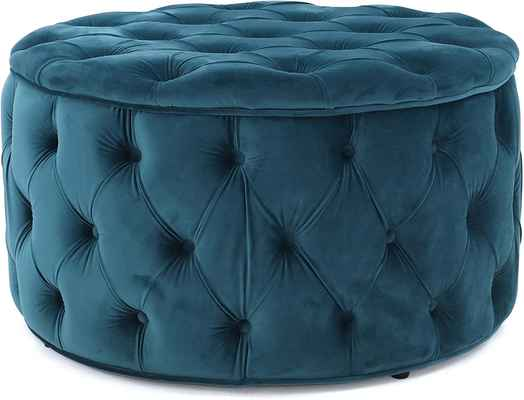 #9. Christopher Knight Home Dark Brown Leg Finish 100% Polyester Zelfa Velvet Ottoman (Dark Teal)