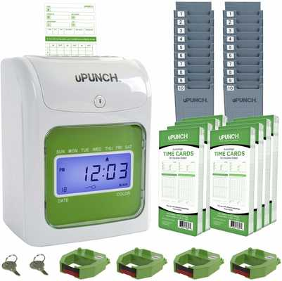 #7. uPunch HN3540 Auto-Align Time Clock Start-Up Kit 400 Time Cards for Small Business