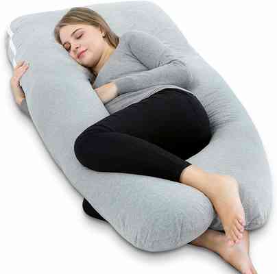 #6. AngQi 55'' U-Shaped Full Body Pillow for Pregnant Women Back pain Pregnancy Pillow (Grey)
