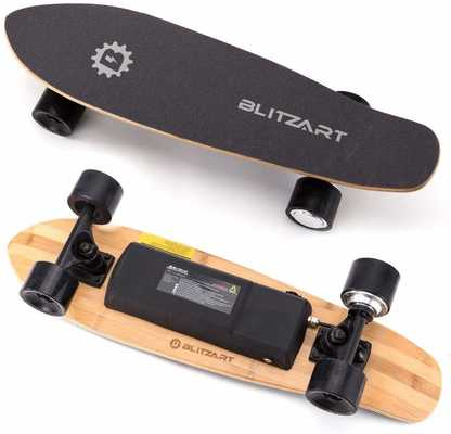 #3. BLITZART 28'' 12 MPH 8 mile Range 250W Hub-Motor Mini-Flask 2.8'' Wheels Electric Skateboards