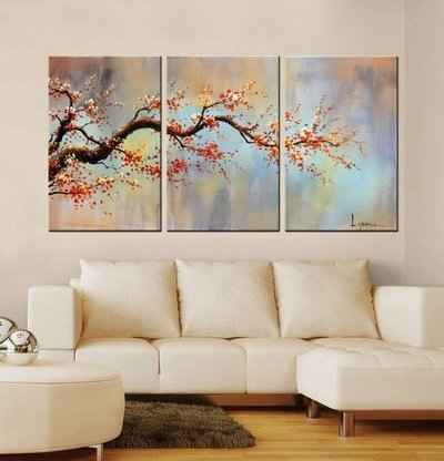 8. ARTLAND 100% Hand Painted Flower Modern Orange Plum Blossom 3-Piece Canvas Wall, Art