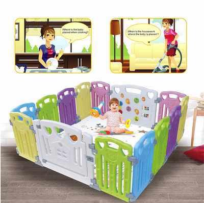 #7. Gupamiga Home Indoor Outdoor Multi-Color Classic Set 14 Panel Baby Playpens