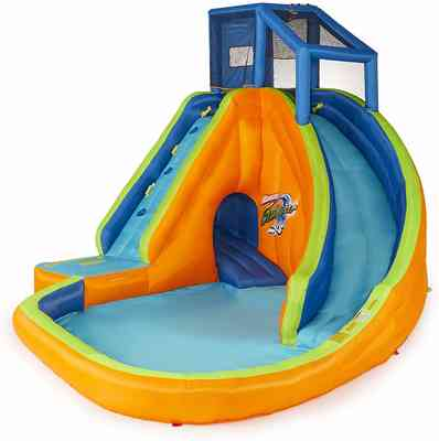 #6. BANZAI Sidewinder Falls 2 Front Pockets Adjustable Wood Durable Rubber Inflatable Water Slide