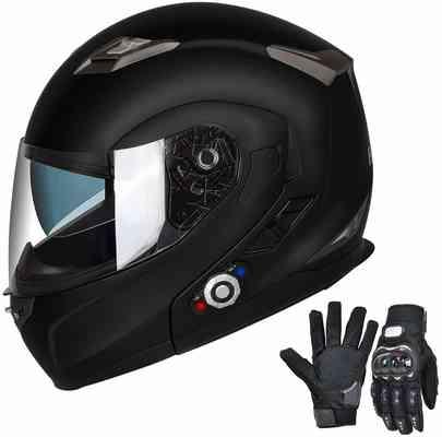 #8. FreedConn Bluetooth Integrated Modular Flip up Dual Visors Motorcycle Helmet (Matte Black, L)