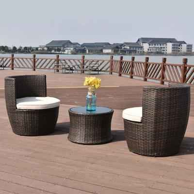 7. Tangkula 3 Pcs 2 Cushioned Chairs & Table Patio Furniture Set Wicker (Vase Brown)