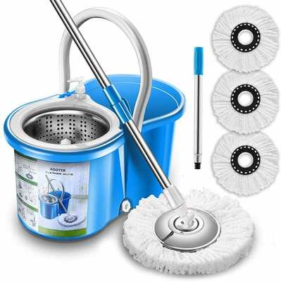 #3. Aootek Stainless Steel Upgraded Deluxe 360-Degrees 3 Microfiber Mop Heads Spin Mop and Bucket