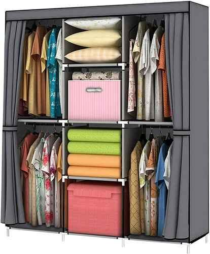 #4. YOUUD Shelf-Wardrobe Storage Closet Portable Standing Wardrobe Storage Closet (Grey)
