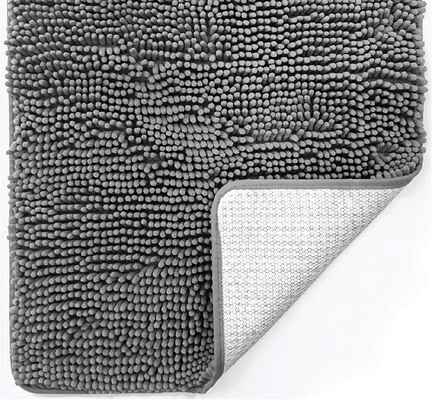 #8. Gorilla Grip 30 x 20 Extra Soft & Absorbent Luxury Chenille Bathroom Rug Mat (Grey)